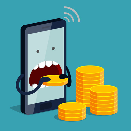 subscriber: Phone is eating gold coin. Expensive payment of communication services and unremunerative rate concept Illustration
