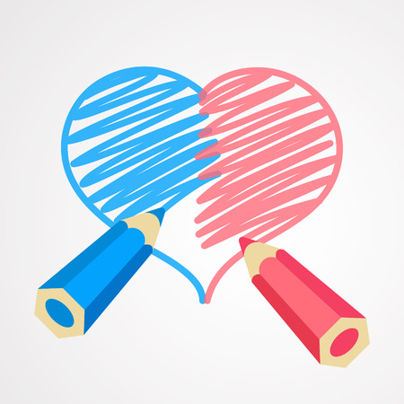 heterosexual: Blue and pink pencils are drawing together a whole heart. One heart for two person. Harmony in love. Heterosexual couple concept