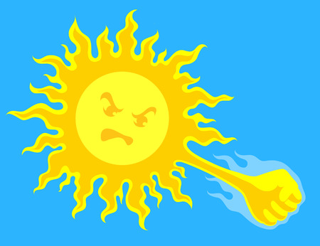 insolación: sol amarillo brillante con la cara de ira había preparado el puño de huelga, sobre fondo azul. Riesgo de insolación y golpe de calor en la temporada de calor