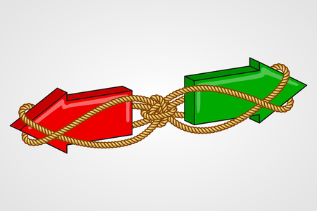interdependence: Red and green arrows pointing in opposite directions, bound with rope. Interconnection of alternatives, interdependence of opposing action Illustration