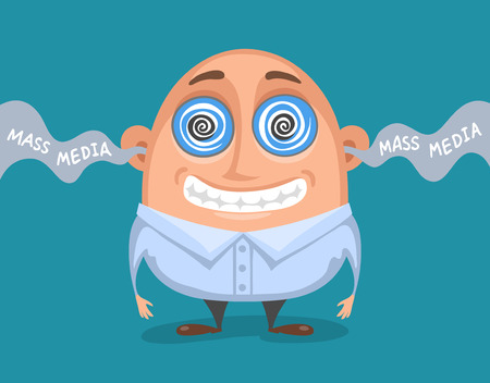 credulous: Cute caricatured person, hypnotized by mass media. Influence of mass media on human
