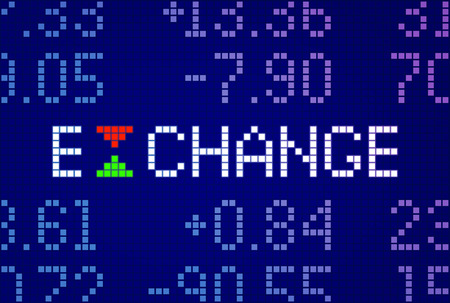Inscription EXCHANGE and different numbers on electronic display, green and red triangles as symbols of rise and decline of stock exchange indexes