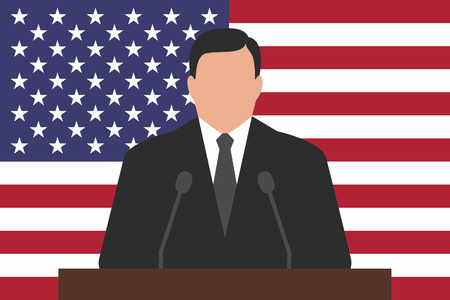 politician: Politician is standing behind podium, USA flag at background Illustration