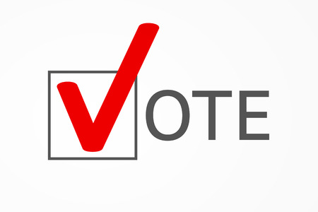 """Check box with big red check mark as symbol of choice and letters had formed together word """"VOTE"""" in ballot"""