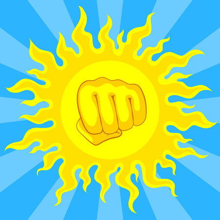 scorching: Bright yellow sun and fist in the middle, with sunrays on blue sky. Risk of sunstroke and heatstroke at hot season