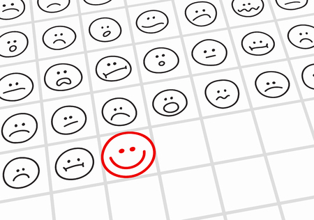 Many black unhappy and upset smileys and one red happy smiley. Create a good mood concept