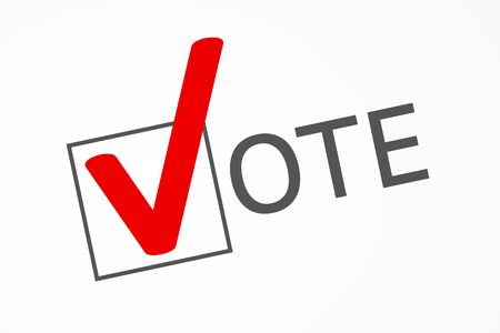 civic: Check box with big red check mark as symbol of choice and letters had formed together word VOTE in ballot