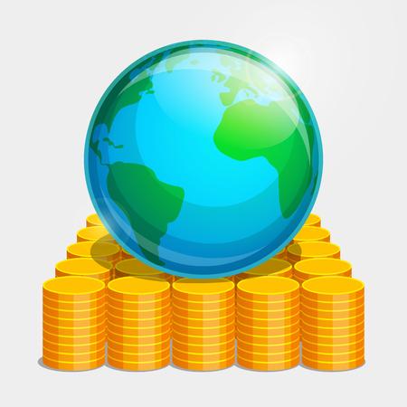 Aardse wereld ligt op gouden munten. Geld als basis van stabiliteit in de wereld.