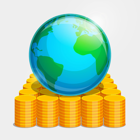 terrestrial: Terrestrial globe is lying on gold coins. Money as basis of stability in the world. Illustration