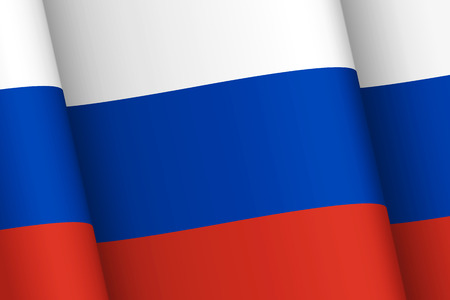 federation: Wind-shaken Russia flag. National symbols of the Russian Federation