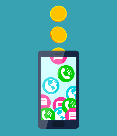sms payment: Gold coins fall into mobile phone, turning into calls, sms and internet access. Mobile communication and service payment