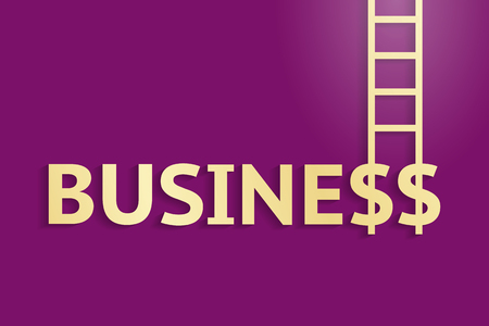upward movements: Word business and ladder upward, on purple background. Success in business and career growth concept Illustration