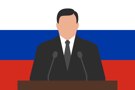 functionary: Politician is standing behind podium, flag of Russia at background Illustration