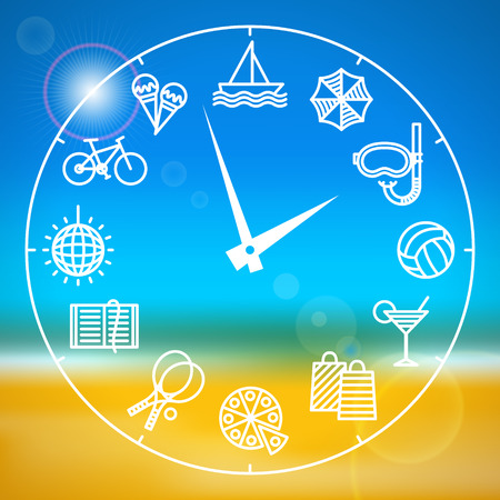 summertime: Clock with different activities for the summer holidays, on blurred background with sea and beach. Summer holidays and varied pastimes. Summer leisure concept