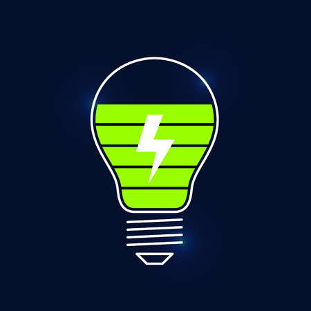 ingenious: Charge indicator in form of light bulb and displaying of charging process. Charge on new ideas. Creative process concept
