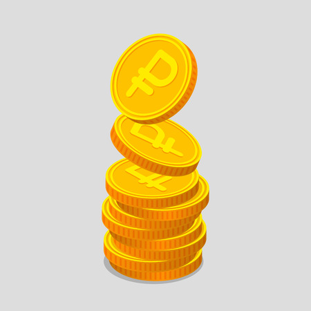 augmentation: Stack of gold coins with ruble signs. Coins is falling from the top so stack is increasing. Income concept