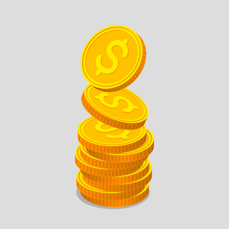 augmentation: Stack of gold coins with dollar signs. Coins is falling from the top so stack is increasing. Income concept