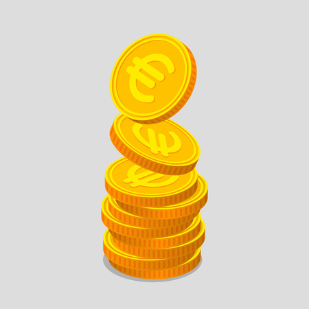 augmentation: Stack of gold coins with euro signs. Coins is falling from the top so stack is increasing. Income concept