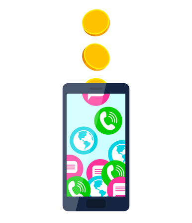 mobile communication: Gold coins fall into mobile phone, turning into calls, sms and internet access. Mobile communication and service payment