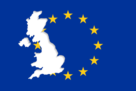 geopolitics: The EU flag and an empty space in form of the UK outlines. United Kingdom withdrawal from the European Union. Brexit concept