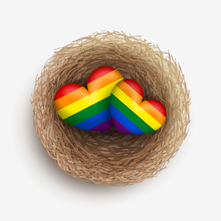 two hearts together: Two LGBT-colored hearts are laying together in nest. Homosexual couple concept