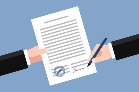 deed: Hand keeping an agreement and hand keeping a pen. Stage of signing an agreement. Business partnership concept