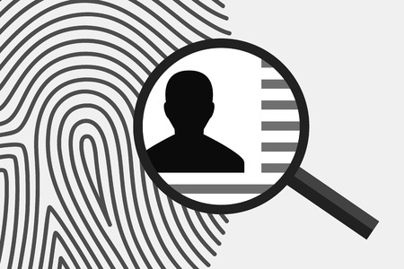 shadowing: Fingerprint and magnifying glass above, with personal information inside. Fingerprint as source of information about person