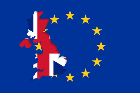 geopolitics: The EU flag and the UK outlines with nation flag inside. United Kingdom withdrawal from the European Union. Brexit concept