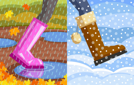 stroll: Legs of walking person. One foot with rubber shoe, puddles at background, rain at foreground; another foot with winter shoe, snowdrifts at background, snow at foreground. Step from autumn to winter Illustration