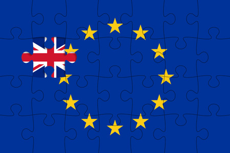 geopolitics: European Union flag in form of assembled jigsaw puzzle, one piece is missing, flag of United Kingdom instead. United Kingdom withdrawal from the European Union. Brexit concept Illustration