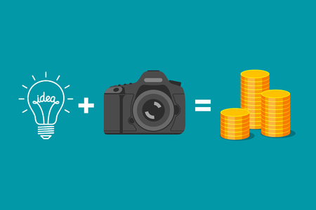 realization: Idea plus camera is equal to gold coins. Formula of income from realization of ideas. Creativity of photographer and receiving of money Illustration