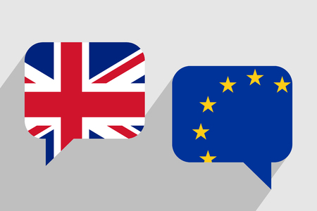 geopolitics: Two message clouds with flags of United Kingdom and European Union respectively. Dialogue between UK and EU. Geopolitics and Brexit concept