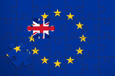 geopolitics: European Union flag in form of assembled jigsaw puzzle of 28 pieces, one piece was removed, flag of United Kingdom instead. British withdrawal from the EU. Brexit concept