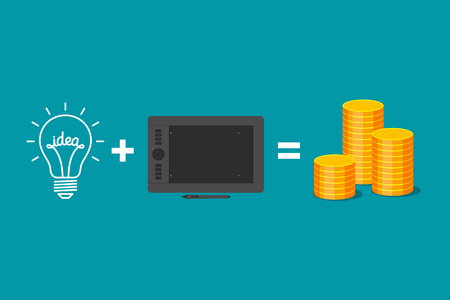 realization: Idea plus graphics tablet is equal to gold coins. Formula of income from realization of ideas. Creativity of graphic designer and receiving of money Illustration