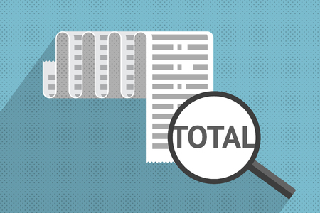 fiscal: Big receipt and magnifier at total sum. Purchases and expenses Illustration