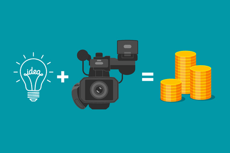 videographer: Idea plus video camera is equal to gold coins. Formula of income from realization of ideas. Creativity of videographer and receiving of money