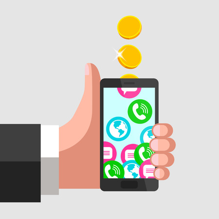 sms payment: Human hand is keeping mobile phone and giving a thumbs-up at the same time. Gold coins fall into mobile phone, turning into calls, sms and internet access. Mobile communication and service payment