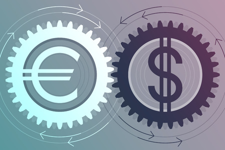 Gear with euro sign inside and gear with dollar sign inside near to each other. Interaction and interdependence of currencies. Money movement concept Illustration