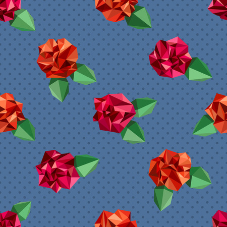 Seamless pattern with flowers, imitating crumpled paper