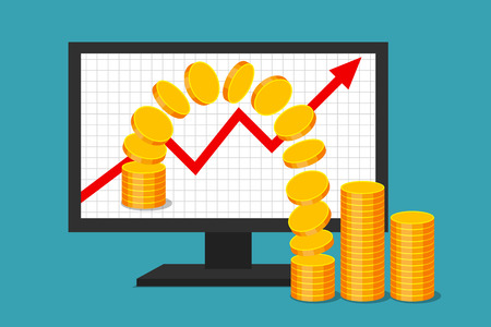 Monitor with graph of income growth. Gold coins are moving from virtual environment to reality. Virtual earnings and real money. Successful business in web sector. Illustration