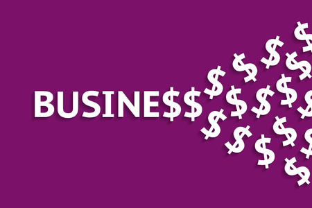 Inscription business in capital letters and growing number of dollar signs at ending. Growth of finances and business success concept Illustration