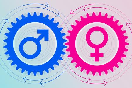 Bleu engrenage avec le symbole mâle à l'intérieur et l'engrenage rose avec symbole féminin à l'intérieur près de l'autre. L'interaction et l'interdépendance des sexes. Les relations hétérosexuelles