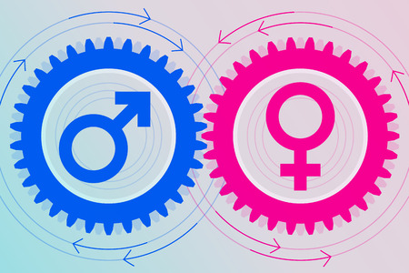 Blue gear with male symbol inside and pink gear with female symbol inside near to each other. Interaction and interdependence of genders. Heterosexual relationships Ilustracja