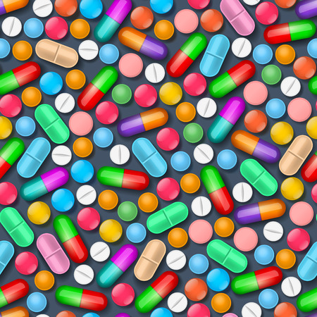 bolus: Seamless pattern with colorful medical tablets and pills on dark background