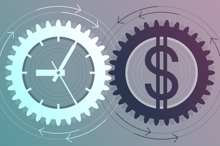 interdependence: Gear with clock face as symbol of time and gear with dollar sign as symbol of money near to each other. Interaction and interdependence of time and money. Successful business concept