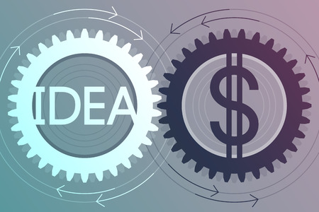 interdependence: Gear with idea inscription inside and gear with dollar sign inside, near to each other. Interaction and interdependence of idea and money. Creativity and income concept
