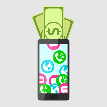sms payment: Dollars are put into mobile phone, turning into calls, sms and internet access. Mobile communication and service payment