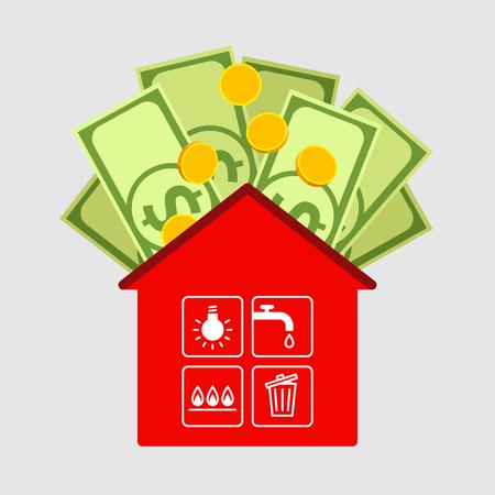 Rotes Haus-Symbol, Symbole der Stadtwerke sind in den Zellen der Fenster. Dollar und Münzen oben. Zahlung von Wohnungen und öffentliche Versorgungsleistungen und Familienbudget