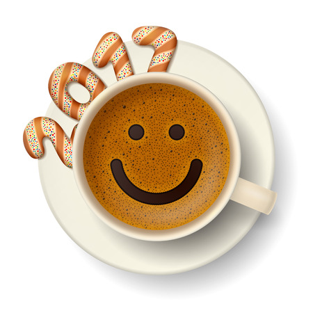 frothy: Coffee cup with smiling face on frothy surface. Cookies in form of digits are forming together a number 2017 on saucer. Good mood and vivacity for new year 2017