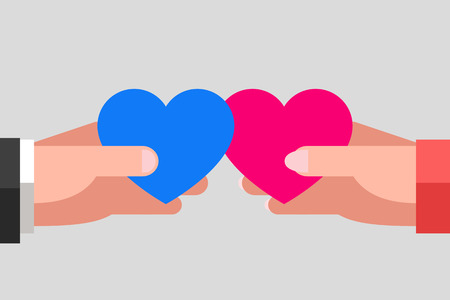 Mans and womans hands are keeping blue and pink hearts and tending to one another. Intersection of two hearts. Heterosexual couple in love Illustration